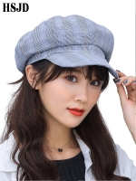 2019 New Fashion Casual Plaid Octagonal Hat Women Spring Summer Lattice Berets Newsboy Hat Female Flat Top Visor Caps Gift