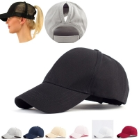 Women's Ponytail Hip Hop Cap Solid Color Breathable Sunshade Sun Hat After Opening Sports Tennis Cap