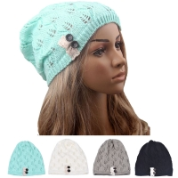 Leaves solid Bonnet Cap color Button Hollow Female NEW Fashion Out knitted Hat For Women femme women's hat winter hats #10
