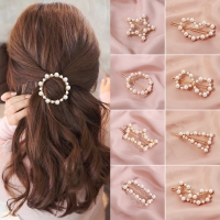 1PC Popular Korea Fashion Imitiation Pearl Hair Clip Snap Barrettes Women Girl Handmade Pearl Flowers Hairpins Hair Accessories