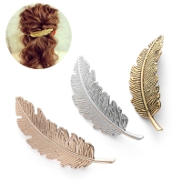 2020 Fashion Women Leaf Feather Hair Clip Metal Geometry Hairpin Barrette Hair Ornament Party Decoration Hair Accessories