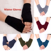 Winter Wool Knitted Fingerless Gloves For Women Winter Warm Wrist Short Gloves Fashion Ladies Cashmere Stretch Solid Mittens