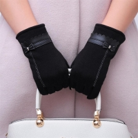 Free Ostrich 2019 Women Luxury Bowknot Winter Warm Gloves Mittens Elegant Lady Winter Gloves Solid PU Leather Gloves Women NEW