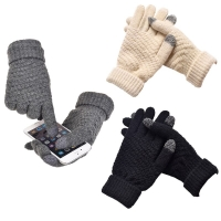 Hot Sale Knitted Gloves Women Men Kids Thick Warm Winter Full Finger Mittens Female Stretch Crochet Solid Wool Screen guantes