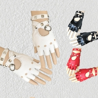 Lady Fingerless Driving PU Leather Gloves Black Red White Motor Punk Cool Rivet Lady Women Sexy Disco Dancing Rock-and-roll