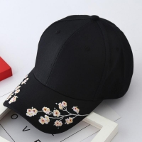 2020 Women Summer Hats Symmetrical Flower Embroidery Built-in insulation Knitted Hats Femme Baseball Cap Adjustable