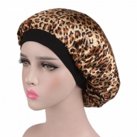 Women Ladies Floral Silk Satin Night Sleep Cap Hair Bonnet Hat Silk Head Cover Wide Elastic Band Beanies