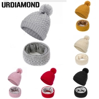 URDIAMOND 2019 Winter Scarf Women Hat Set Fashion Ladies Solid Color Knit Beanie Winter Soft Cap Scarves Warm Pompom Beanies
