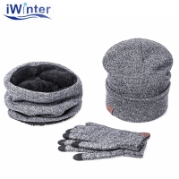IWINTER Winter Hats For Women Winter Hat Scarf Warm Scarf Hat Gloves Set For Women Female Hat Scarf Set Girl 's Skullies Beanies