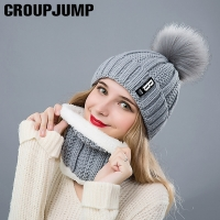 Fashion Winter Women's Hat Scarf Set of Hat And Scarf For Women Girl Warm Beanies Hat For Girl Ring Scarf Pompoms Winter Hats