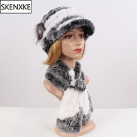 2020 New Fashion Girl Fur Cap Lady Winter Natural Real Rex Rabbit Fur Hat Scarf Suite Quality Women 100% Genuine Fur Hat Muffler