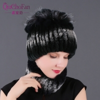Winter 100% Real Rex Rabbit Fur Women Hat Scarf Sets Comfortable Warm Vintage Fur Casual Female Ladies Caps Scarves New Arrival