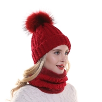 Winter Fleece Inside Warm Scarf Hat For Women Real Fur Pompom Beanie Twist Knitted Hat And Scarf Set