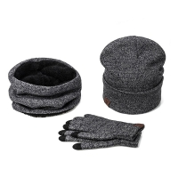 2018 New Women Men Hat Caps Knitted Beanies Wool Warm Scarf Thick Windproof Balaclava Hat Scarf Gloves 3 Pieces Set For Female