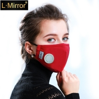 L.Mirror Unisex Respirator Mask With Breathing Valve Washable Cotton Activated Carbon Filter PM2.5 Mouth Masks Anti Dust Allergy