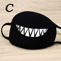 Black Cartoon Cycling Anti-Dust Mouth Face Mask Unisex Fashion Print Mouth-Muffle Face Masks