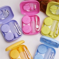 Popular Mini Square Contact Lens Case Box Travel Kit Easy Carry Mirror Container Free Shipping