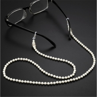 Fashion White Pink Pearl Glasses Chain Beaded Sunglass Reading Eyeglasses Chain Cord Holder Rope For Men Women Couples
