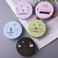 Color Flamingo Contact Lenses Case For Lenses Container Contact Lens Cleaner Lens Travel Mirror Travel Kit Eyewear Cases