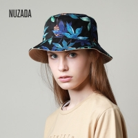 NUZADA Print Bucket Hat Summer Hats For Women Fisherman Hat Cotton Foldable Female Sunscreen Shade Caps Double Sided Can Be Worn