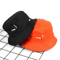 Cigarette Embroidery Bucket Hat for Men Women Hip Hop Fisherman Hat Adult Panama Bob Hat Summer Lovers Flat Hat
