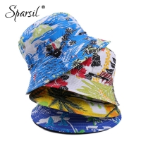 Sparsil Men Sunscreen Summer Fish Adjustable Hat Women Fashion Flower Breathable Beach Barrel Cap Double Side Wearable CoupleHat