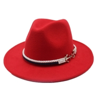 Seioum Spring Wide Brim Fedora Men Women Vintage Jazz Hats Fashion Stars Wool felt hat Unisex red Felt Bowler Trilby