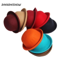 DINGDNSHOW 2019 Fashion Winter Hat Fedora Vintage Lady Cute Children Trendy Wool Felt Bowler Derby Floppy Hats For Girl and Boy