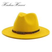 Fashion Men Women Wide Brim Wool Felt Jazz Fedora Hats British style Trilby Party Formal Panama Cap Black Yellow Dress Hat