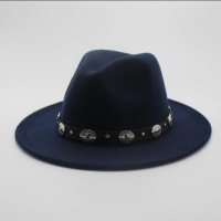 Fashion Wool Men's Women's Winter Autumn Fedora Hat With DIY Punk Belt Wide Brim Church Sombreros Jazz Cap Top Sun Hat