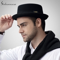 Sedancasesa 2020 Men Fedora Hat Fashion 100% Pure Australia Wool Men's Hat with Pork Pie Hat for Classic Church Wool Felt Hat