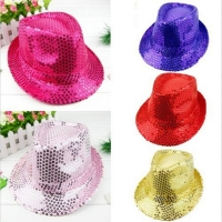 Fashion Adult/Child Unisex Brilliant Glitter Sequins Hat Dance Show Party Jazz Hat Cap Show Stage props Beading Caps Fedoras