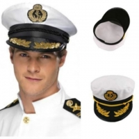 Vintage Adult Party Fancy Dress Unisex White Adjustable Skipper Sailors Navy Captain Boating Military Hat Cap