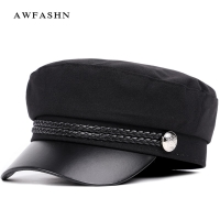 2018 New High Quality Casual Military Cap Man Woman Cotton Beret Flat Hats Captain Cap Trucker Vintage Black Sport Dad Bone Male