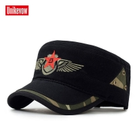 Brand Unikevow Military hats with Star Embroidered Adjusted baseball cap Flat top Hat for men and women Militaire gorra