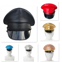 PU Leather Military Hat Performance Stage Show Night Bar Cap Captain Cap Nightclub Security Guard Cap For Adult Men Women