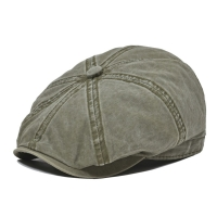 VOBOOM Khaki Washed Cotton Newsboy Cap 8 Panel Flat Ivy Cap Summer Light Fabrics Gatsby Hat Retro Cabbie Hats 160