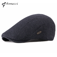 Fibonacci Fashion Men's Newsboy Caps Knitting Plus Velvet Beret Hats for Men Autumn Winter Flat Dad Hat