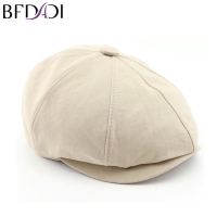 BFDADI 2019 New Solid Color Vintage Beckham Men Women Fashion Octagonal Cap Men Cotton Newsboy Cap Painter Beret Hat Size 57-60