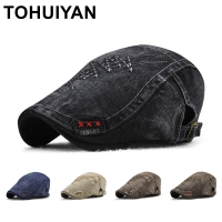 TOHUIYAN Newsboy Caps For Men Vintage Cotton Driver Cap Boina Duckbill Hats Baker Boy Caps Classic Beret Hats Male Flat Cap