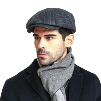 High Quality Flat Cap Wool Large Size Vintage Cabbie Hat  Ivy Ear Hat Cap Irish Hunting Ear Flap Newsboy Cap