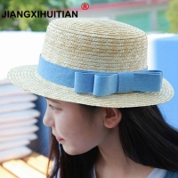 wholesale sun flat straw hat boater hat girls bow summer Hats For Women Beach flat panama straw hat chapeau femme 48-52-54-58cm