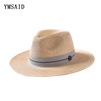 Ymsaid Summer casual sun hats for women fashion letter M jazz straw for man beach sun straw Panama hat Wholesale and retail