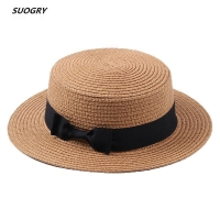 SUOGRY 2018 Summer Women Boater Beach Hat Female Casual Panama Hat Lady Brand Classic Bowknot Straw Flat Sun Hat Women Fedora