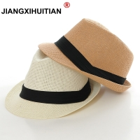 wholesale 2018 New Fashion women men  Sun Hat For Boys Summer Caps Casual Straw Caps Children Solid Colors Bonnet girl Hats