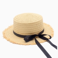 Hot Sale  Flat High sun Hat Summer Spring Women's Travel Caps Bandages Beach child Traw Hat Breathable Fashion Flower