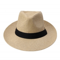 Hot  Fashion Summer Casual Unisex Beach Trilby Large Brim Jazz Sun Hat Panama Hat Paper Straw Women Men Cap With Black  Ribbon