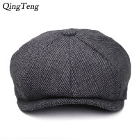 Peaky Blinders Men Berets Hat Autumn New Vintage Herringbone Octagon Cap Women'S Casual Pumpkin Hat Gatsby Flat Beret Hats