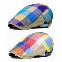 Men Colorful Plaids Checks Cap Driving Golf Peaked Flat Cabbie Newsboy Beret Hat  HATCS0005