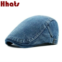 which in shower adult unisex adjustable plain denim beret for women men blank jean flat newsboy cap spring summer sun hat bone